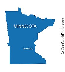 blue map of Minnesota with indication of Saint Paul