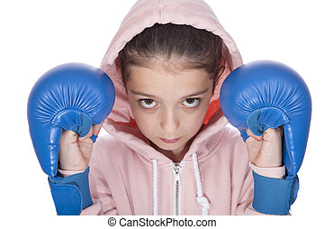 Girl boxer - Young girl taking a boxing stance on a white...