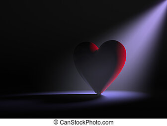 Lonely Heart - A large red heart on a dark background is...