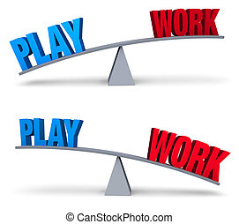 "Weighing Work And Play Set - A blue ""PLAY"" and red ""WORK""..."