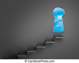 Steps To Opportunity - Stairs mounted on a dark gray wall...