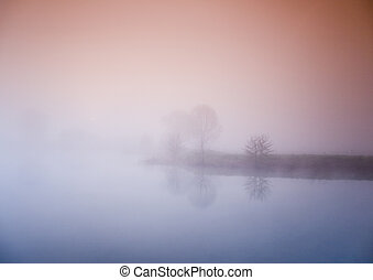 Foggy lake - Foggy autumn and non-urban scene in southern...