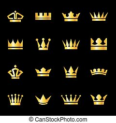 Set of icons crowns - Set of icons golden crowns isolated on...