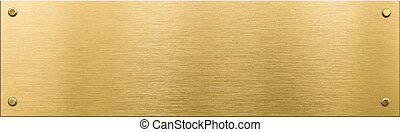 gold metal plaque or nameboard with rivets background