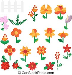 Flower set in a flat style Flower set. Spring flowers. Vector flat illustration