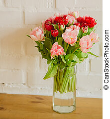 bouquet of tulips on white background for advertising