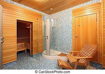 sauna - Rest room before a sauna with chaise lounges and per...