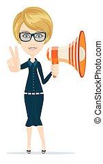 Female messenger negotiator with a loudspeaker horn showing...