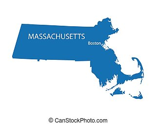 blue map of Massachusetts with indication of Boston