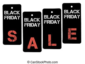 Word SALE formed of Black Friday price tags isolated on...