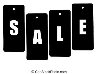 Word SALE formed of price tags isolated on white background...