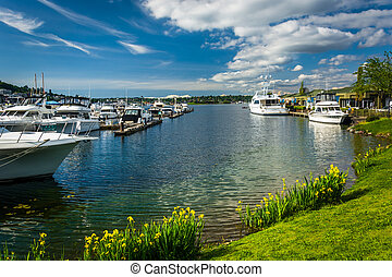 Flowers and boats in Lake Union, in Seattle, Washington.
