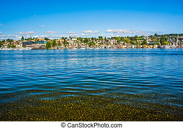 Lake Union at Gas Works Park, in Seattle, Washington.