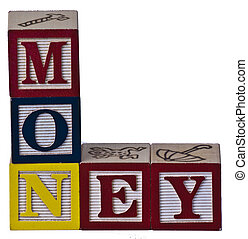 Childrens Blocks Money - kids playing money blocks