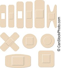 Medical plastic bandages of different shape, round,...