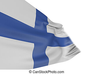 3D Finnish flag with fabric surface texture. White...