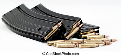 3 Loaded Magazines with bullets - loaded magazines with...
