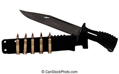 Bayonet and Bullets - knife and bayonet in black color