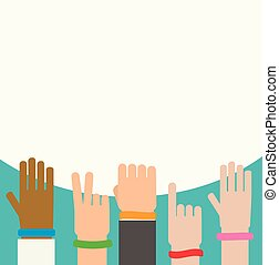 Wristbands on human hands background, vector illustration