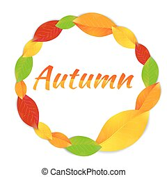 Round frame with autumn leaves - Round frame with vector...