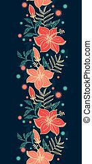 Vector vibrant tropical hibiscus flowers vertical border seamless pattern background