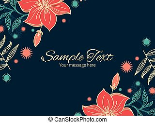 Vector vibrant tropical hibiscus flowers horizontal double corners frame invitation template