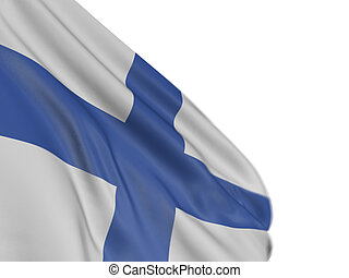 3D Finnish flag with fabric surface texture White background...
