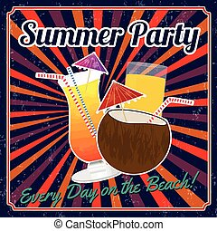 Summer party vintage poster