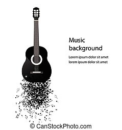 Abstract music background with guitar