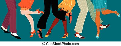 1920s style party - Line of men and women legs in 1920s...