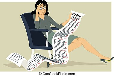 To-do list - Frustrated woman sitting in a chair, holding a...