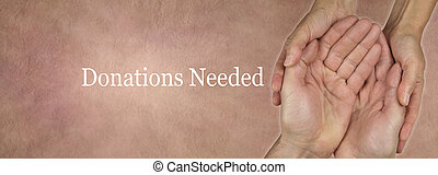 Donations Needed Website Banner - wide banner with a woman's...