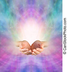 Sending Divine Healing Energy - Female cupped hands on an...