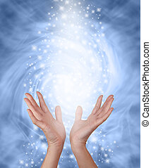 Misty blue sparkling Healing Energy - Female hands reachi