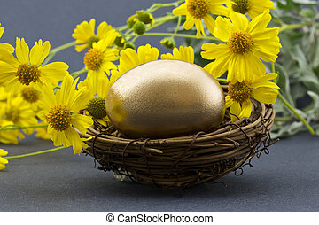 Gold egg in nest surrounded by spri