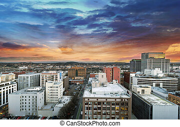 Sunset Over Portland Oregon Cityscape - Sunset Over Portland...