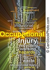 Occupational injury background concept glowing - Background...