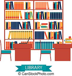 Library vector with bookshelves