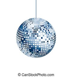 Sparkling silver and blue disco ball isolated on white...