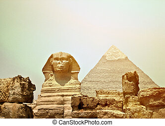 Sphinx and the Great pyramid in Egypt - Giza