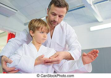 litet, Pojke, In, a, karate, Lektion,