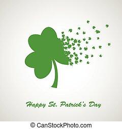 Green clover leaf, St Patrick Day symbol