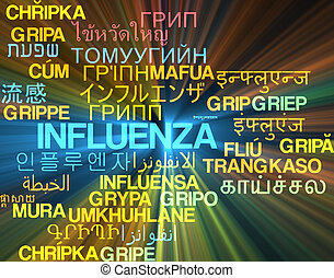 Influenza multilanguage wordcloud background concept glowing