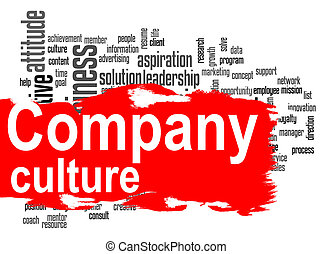 Company culture word cloud with red banner - Company culture...