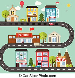 Small town urban landscape in flat design style, vector...