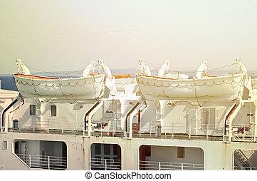 Lifeboats at cruise ship