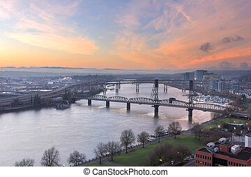Sunrise Over Willamette River by Portland - Sunrise Over...