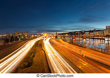 Portland Oregon Interstate Freeway Light Trails - Portland...