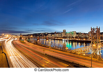 Portland Oregon Freeway Light Trails - Portland Oregon...