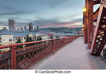Portland Oregon Downtown on Broadway Bridge - Portland...